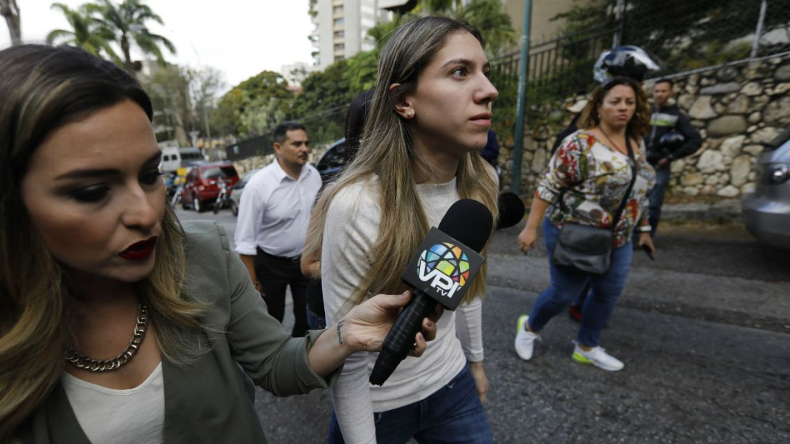 Fabiana Rosales, the wife of opposition leader Juan Guaidó, arrives to the building where the family of her husband's uncle Juan Jose Marquez lives in Caracas, Venezuela, Thursday, on February 20, 2020.