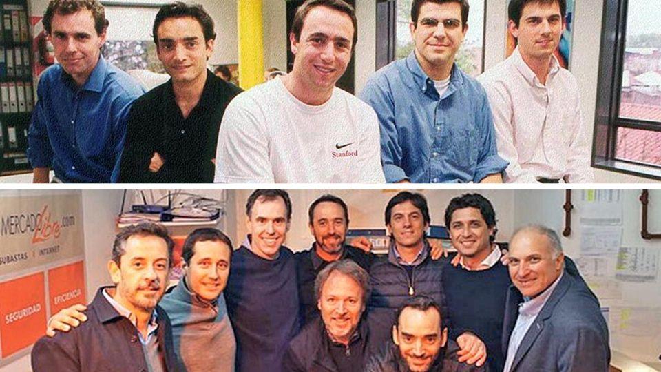 1999-2019. Marcos Galperin con el grupo de amigos que fundó Mercado Libre, y el año pasado celebrando con ellos el 20º aniversario de la mayor empresa latinoamericana.