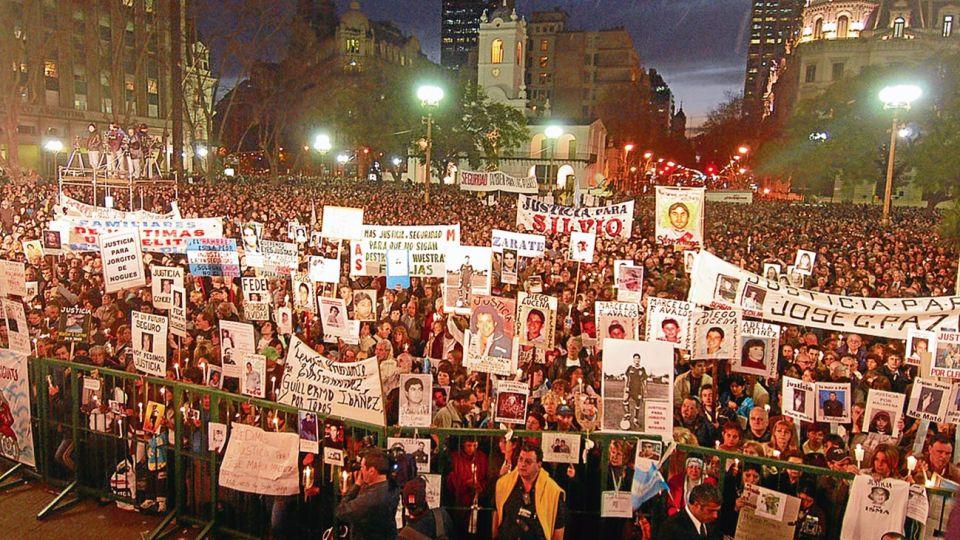 """Marchas. Como con Axel Blumberg; hoy con el caso Báez Sosa se pide """"Nunca Más""""."""