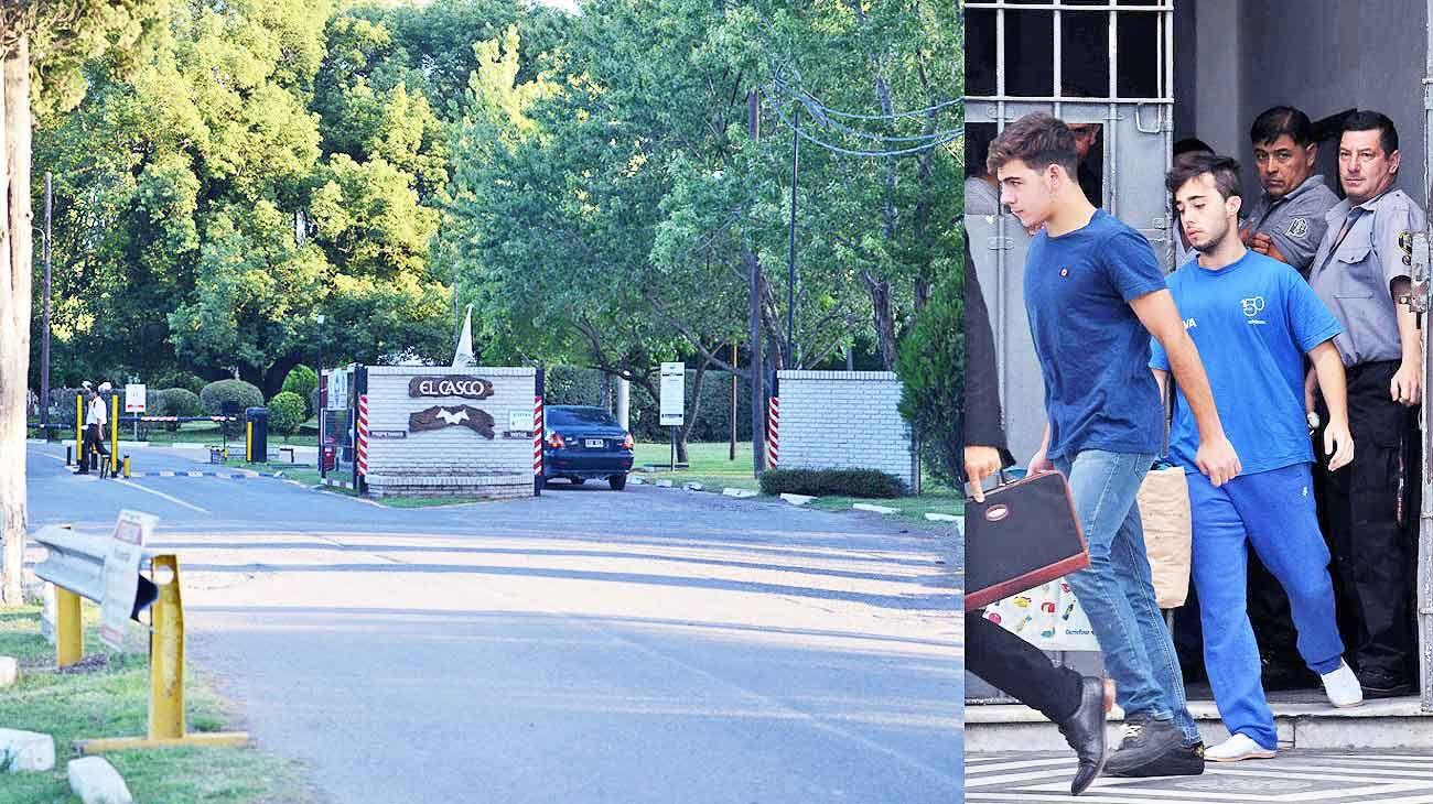 El casco. El barrio cerrado donde reside Alejo Milanesi con su familia (izq.), ubicado a 800 metros de donde vive Guarino. Der.: los deportistas, tras quedar libres.