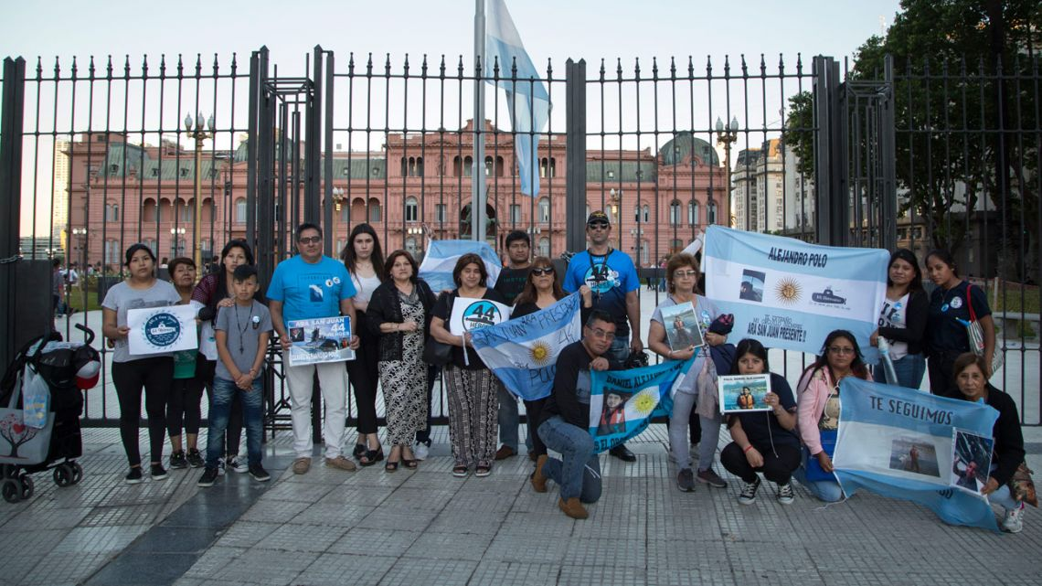 Relatives of the ARA San Juan's fallen crew demonstrate outside the Casa Rosada, in this file photograph taken in 2019.