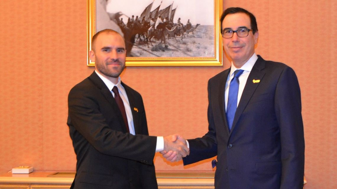 Economy Minister Martín Guzmán and US Treasury Secretary Steve Mnuchin.
