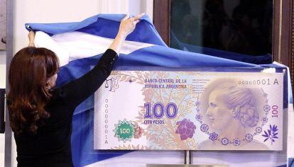 Billete con imagen de Eva Perón