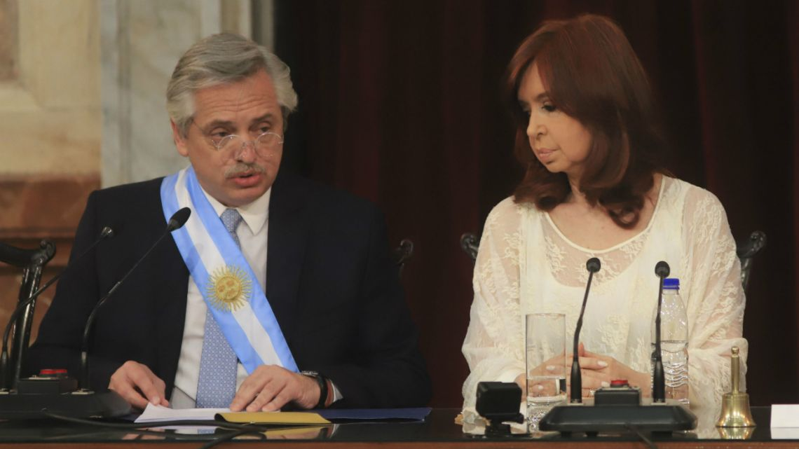 President Alberto Fernández and Vice President Cristina Kirchner during the presidential handover ceremony on December 10 2020.
