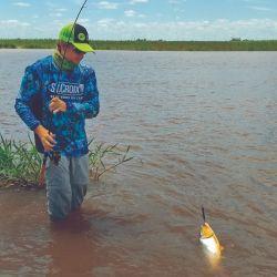 Debido a la bajante, en varios lugares la pesca está casi asegurada.