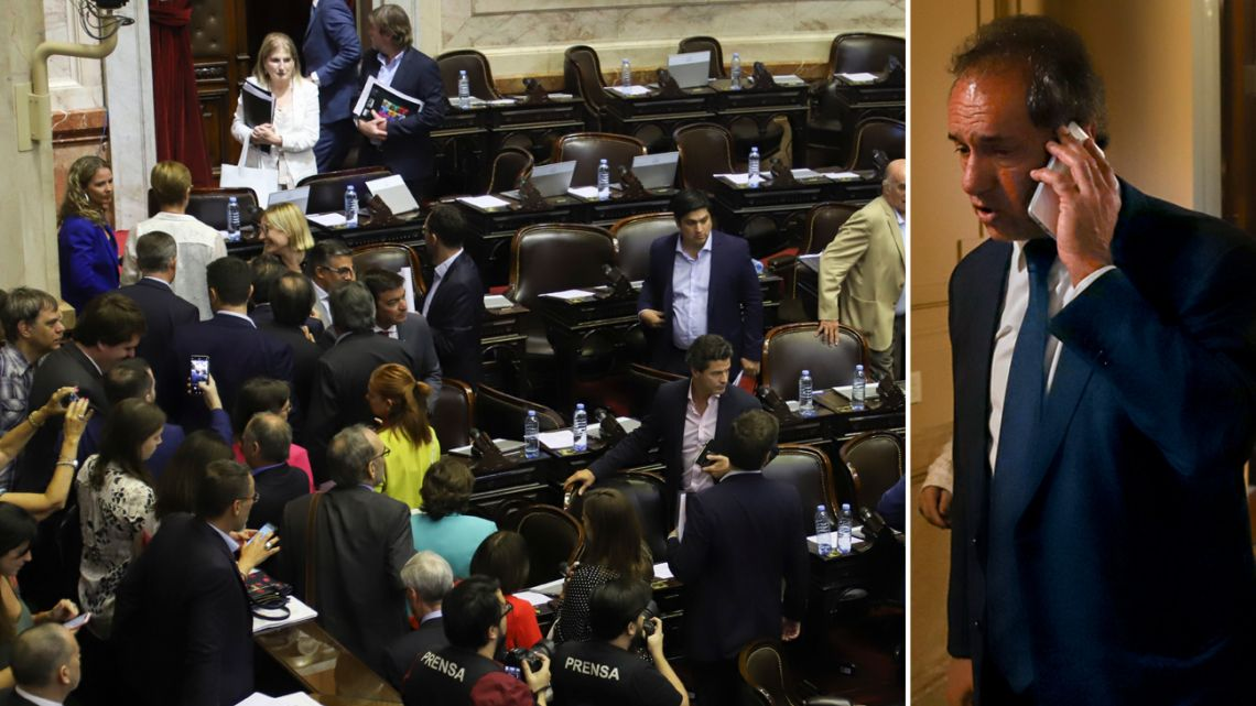 Opposition lawmakers walk out of the lower house in anger, after Daniel Scioli's move.