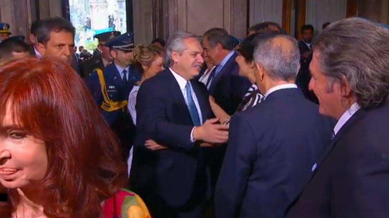 Alberto Fernández al llegar al Congreso Nacional, para la apertura de las sesiones ordinarias 2020.