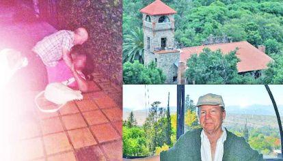 Ataque. La hija de los involucrados registró la agresión (izq.) dentro del hotel (arr.) del prófugo (abajo).