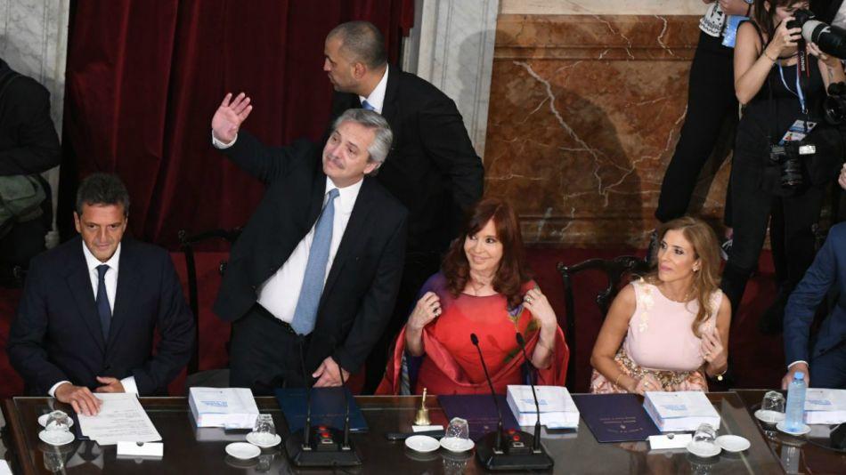 Alberto, Massa y Cristina, en la apertura de sesiones.