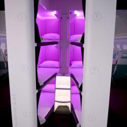 Vista del sector de Economy Skynes que comenzará a testearse en el vuelo Auckland-NewYork de este año.