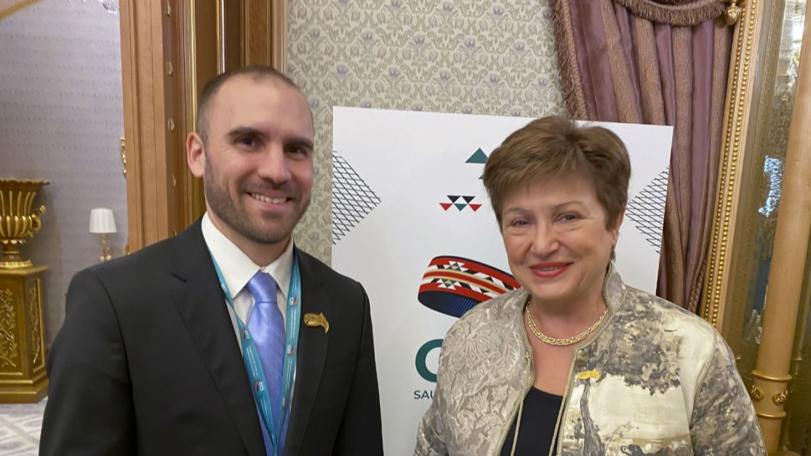 Economy Minister Martin Guzman posed with the Managing Director of the International Monetary Fund (IMF), Kristalina Georgieva within the framework of the G-20 finance ministers' meeting on February 22, 2020.