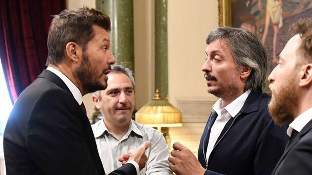 """Marcelo Tinelli, el """"Cuervo"""" Larroque y Máximo Kirchner   Foto:cedoc"""