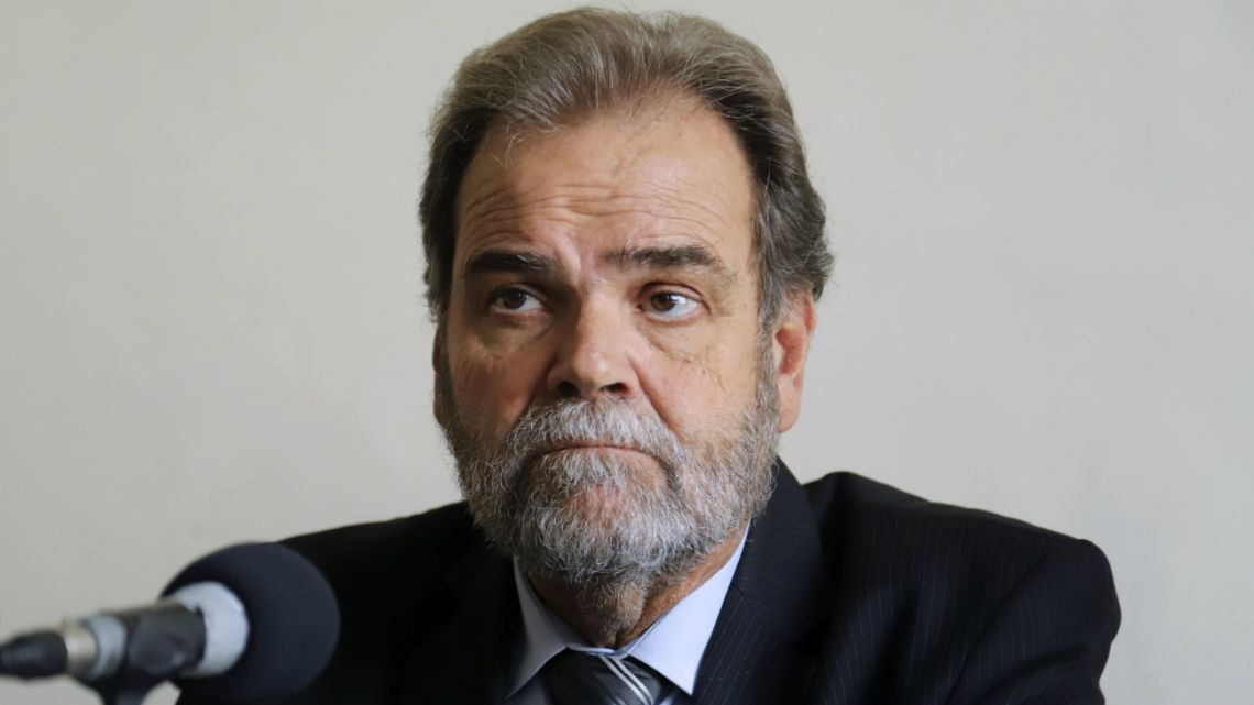 The defender of the elderly, Eugenio Semino, during the press conference of the collective protection asking for the unconstitutionality of the decree that modifies the retirement mobility in February 21, 2020.