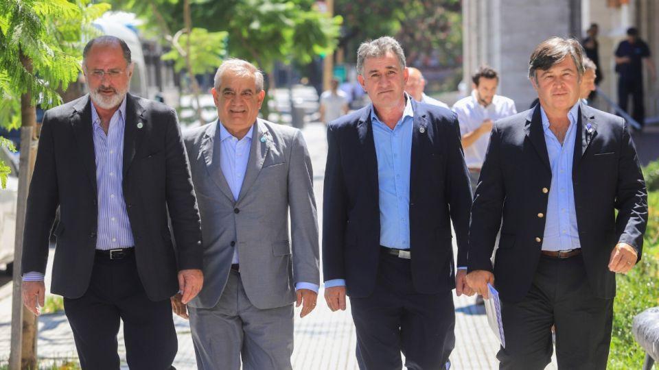 Los dirigentes de la Mesa de Enlace: Jorge Chemes, Carlos Iannizzotto, Carlos Achetoni y Daniel Pelegrina.