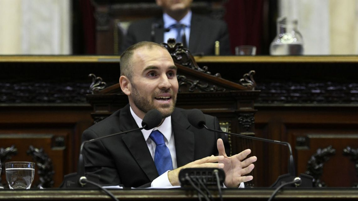 Economy Minister, Martín Guzmán, talks in the Argentine Congress on February 12, 2020.