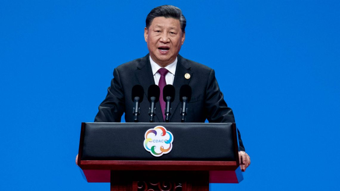 Chinese president Xi Jinping delivers a speech during the opening ceremony of the Conference on Dialogue of Asian Civilizations in Beijing on May 15, 2019.