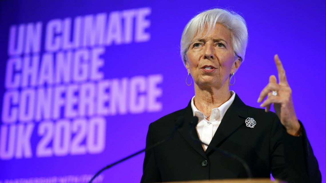 President of the European Central Bank Christine Lagarde addresses an event to launch the private finance agenda for the COP26 at Guildhall in London on February 27, 2020.