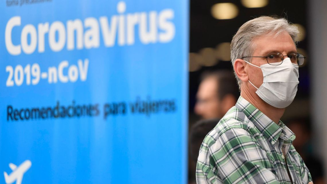 A passenger arrives at Ezeiza International Airport arrives amid coronavirus fears.