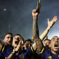 Boca Juniors celebrating their 2019-2020 championship in superliga