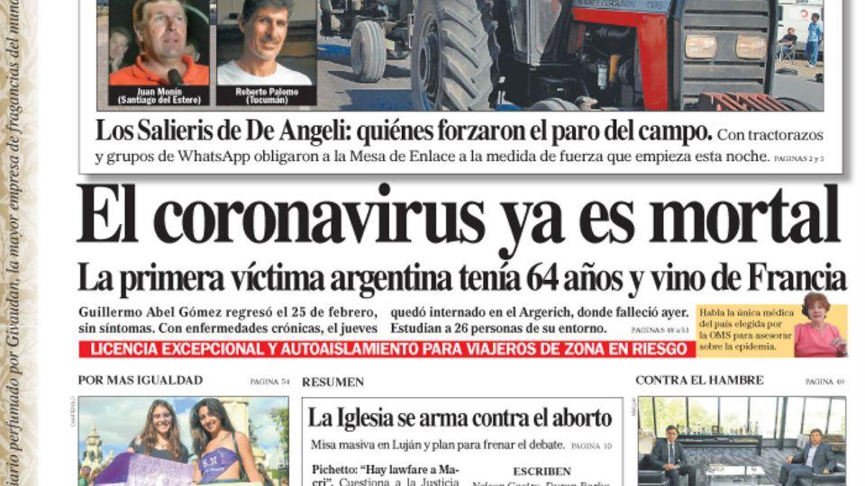 La tapa del Diario PERFIL del domingo 8 de marzo de 2020.