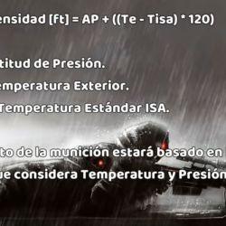 Francotirador: fórmula de altitud de densidad