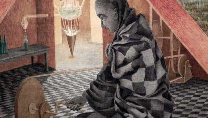 Detalle de la obra El alquimista. El piso se funde con la túnica que a su vez se funde con la piel del personaje.