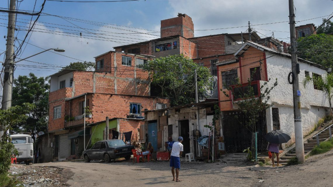 View of the main entrance of the Favela Nova Esperanca -a 'green favela' which reuses everything and is subject to the ethics of permaculture- in the outskirts of Sao Paulo, Brazil, , on February 14, 2020