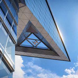 La plataforma triangular asoma en el piso 100 del edificio ubicado en el 30 Hudson Yards, Nueva York.