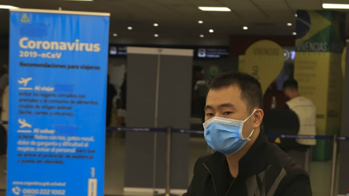 Tourists arrive at Ezeiza with chin straps from different parts of the world in the midst of the coronavirus epidemic on March 6, 2020.
