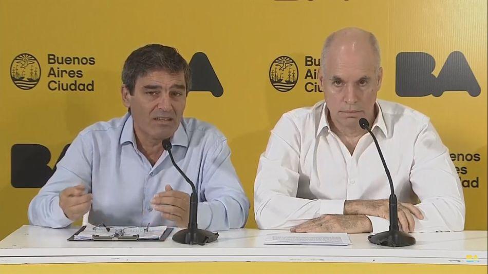Horacio Rodríguez Larreta y el ministro de Salud porteño Fernán González Bernaldo de Quirós