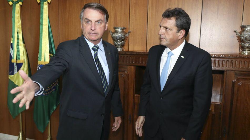 Massa, con Bolsonaro en su visita a Brasil de principios de marzo.