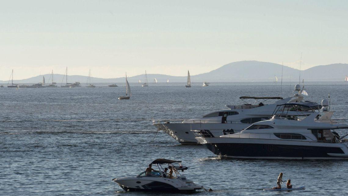 View of yachts as seen from La Mansa beach in Punta del Este, Maldonado, 140 km east of Montevideo on January 16, 2019