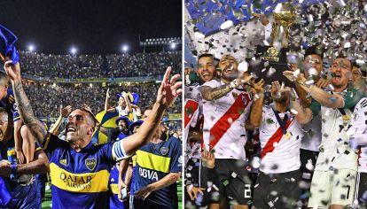 Últimos festejos. Los jugadores del Xeneize celebran la Superliga. Ganaron tres de los últimos cuatro torneos. El Millonario y la Recopa Sudamericana de 2019.
