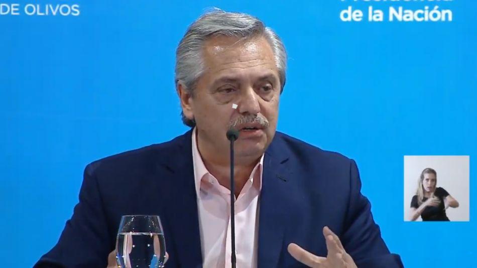 Alberto Fernández en conferencia en Olivos por el coronavirus