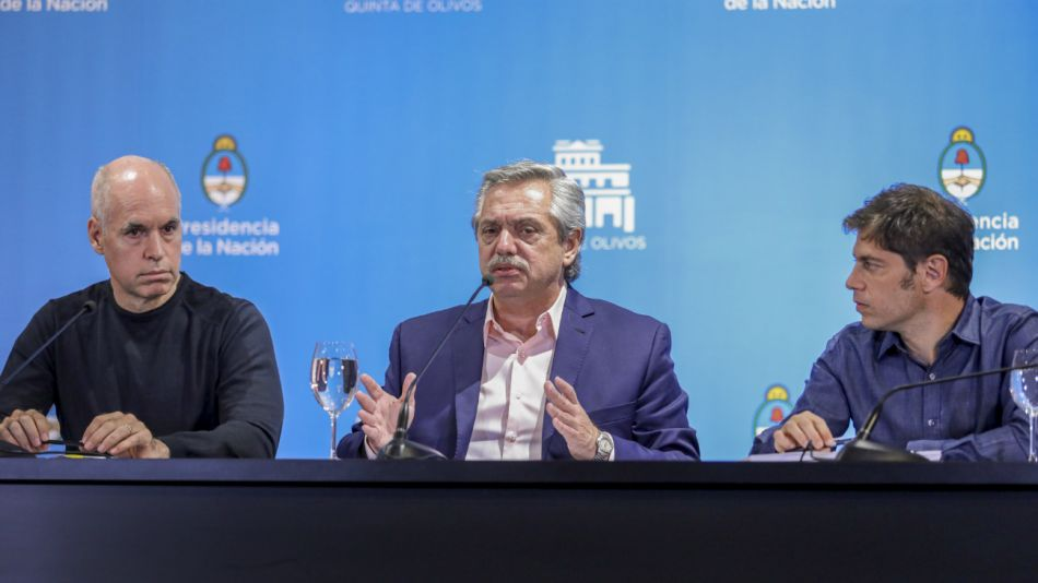 Alberto Fernández junto a Larreta y Kicillof, en Olivos