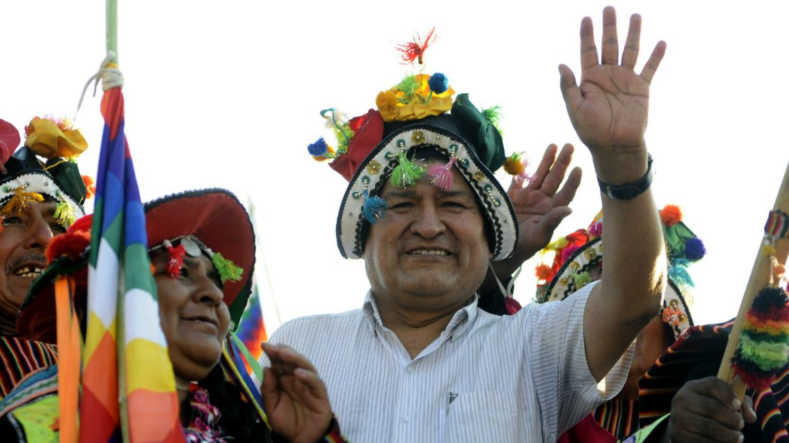 Former Bolivian President Evo Morales, exiled in Argentina, takes part in a meeting organized by the Bolivianos Unidos group in Mendoza, to support Luis Arce, in Mendoza, Argentina, on March 07, 2020.