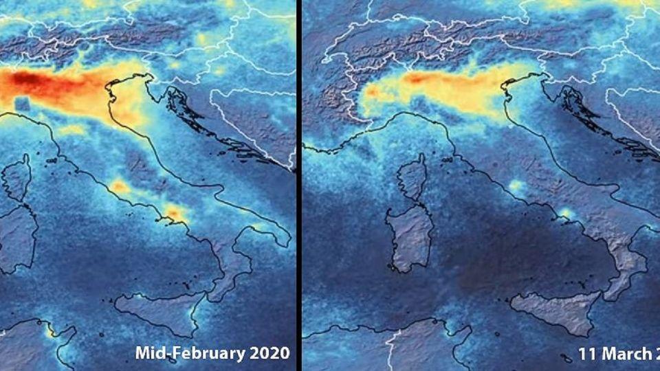 Las emisiones de dióxido de nitrógeno: el rojo muestra la mayor concentración.