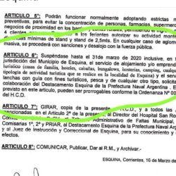 Decreto de suspensión de pesca en Esquina.