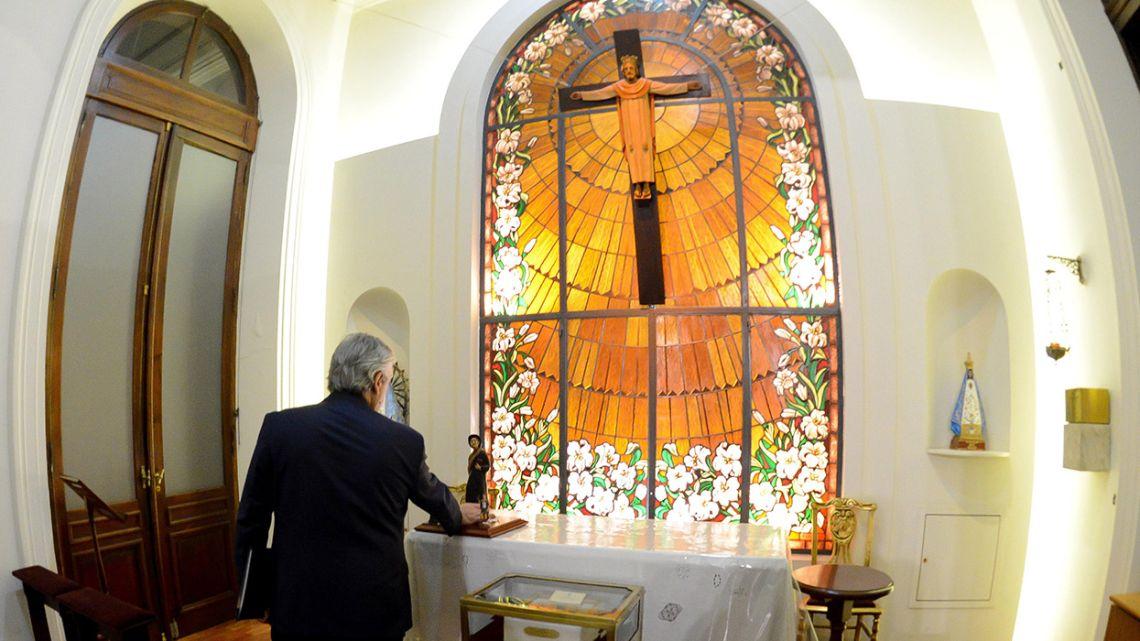 President Alberto Fernández visits the Casa Rosada chapel, Monday, March 16.