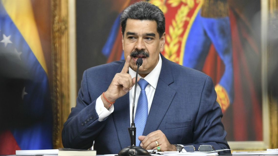 Nicolas Maduro, Venezuela's president, speaks during a press conference at Miraflores Palace in Caracas, Venezuela, on Friday, February 14, 2020.