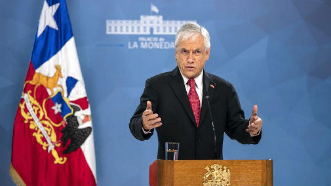 El presidente Piñera, en conferencia de prensa en Chile.