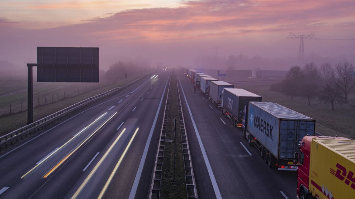 Trucks are jammed in the early morning on Autobahn 12 in front of the German-Polish border crossing near Frankfurt (Oder), Germany.