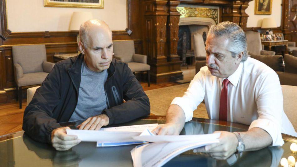 El jefe de Gobierno porteño Horacio Rodríguez Larreta reunido con el presidente Alberto Fernández.