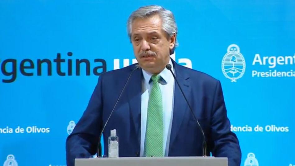 Alberto Fernández, en el discurso al paía anunciando la cuarentena.