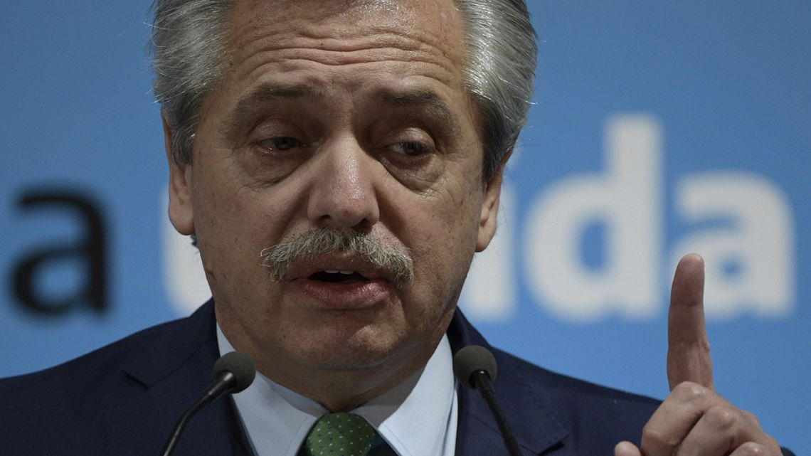 President Alberto Fernández delivers a speech announcing a nationwide lockdown.
