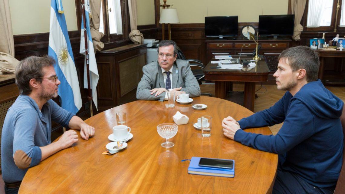 Enrique Avogadro, Tristán Bauer y Augusto Costa   Foto:Cedoc