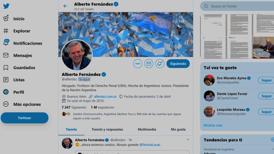 El perfil de Alberto Fernández en Twitter.