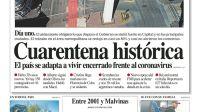 La tapa del Diario PERFIL del sábado 21 de marzo de 2020.