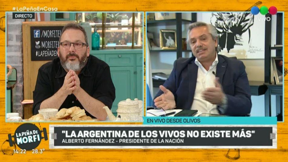 El presidente Alberto Fernández, con Gerardo Rozín en la Peña de Morfi, en Telefe.