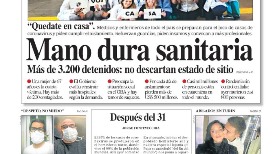 La tapa del Diario PERFIL del domingo 22 de marzo de 2020.